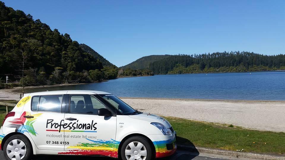 Car by lake